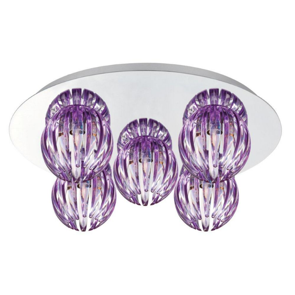 Cosmo Collection 5 Light Chrome & Purple Flushmount