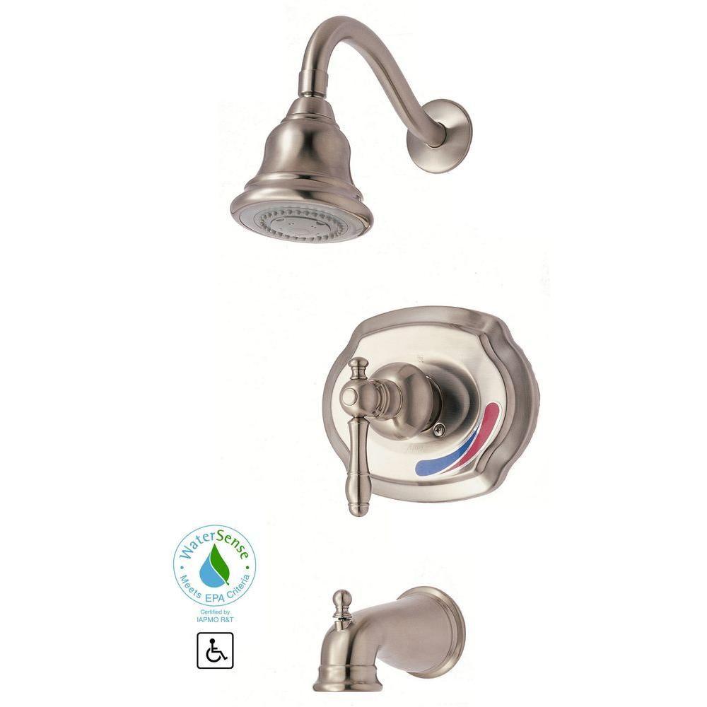 GLACIER BAY Lyndhurst WaterSense Single-Handle Tub and Shower Set in Brushed Nickel