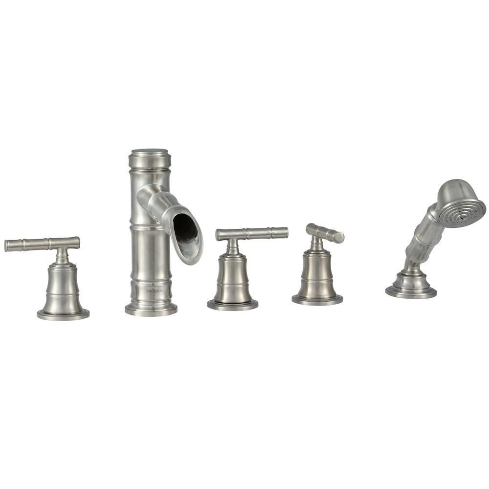 Bamboo Roman Bath Faucet Set with Hand Shower in Brushed Nickel