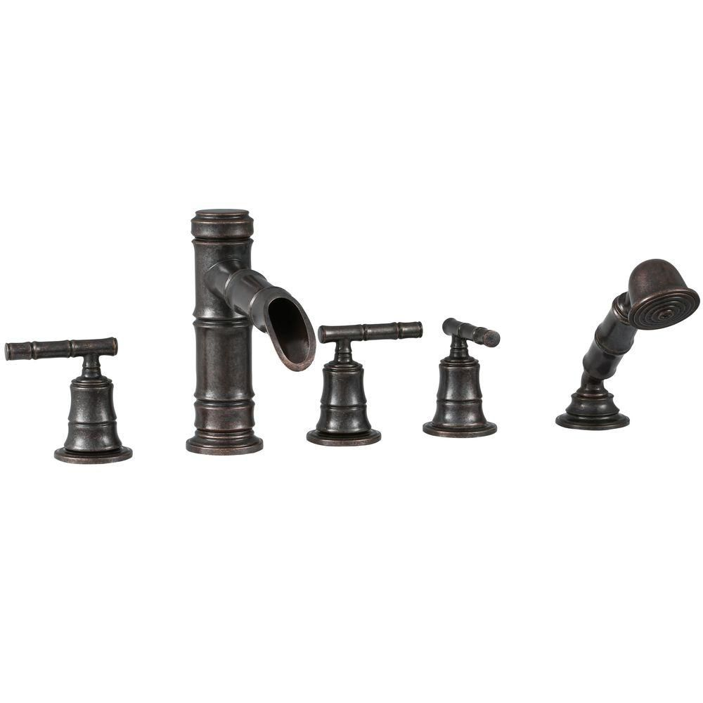 Bamboo Roman Bath Faucet Set with Hand Shower in Heritage Bronze Finish