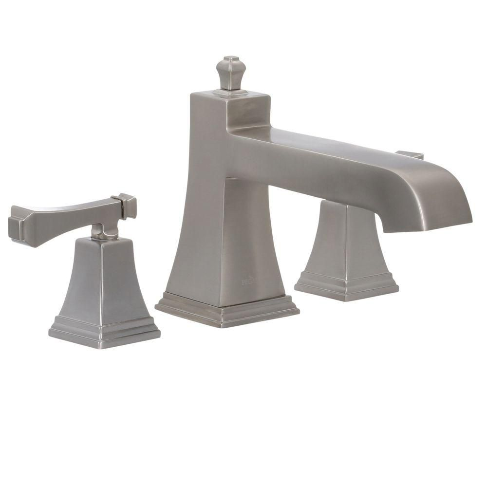 Exhibit Roman Bath Faucet Set in Brushed Nickel Finish