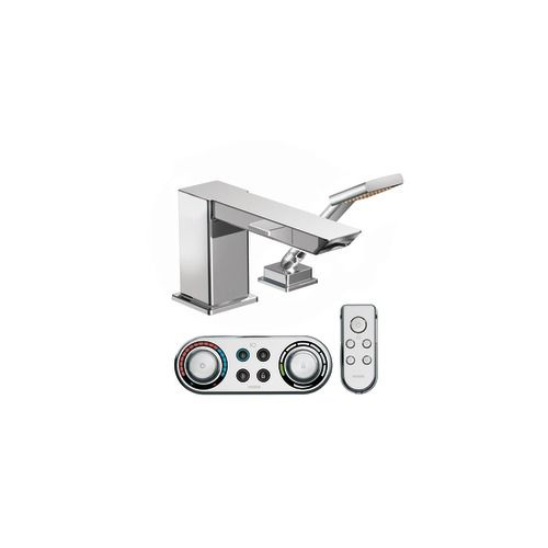 IoDIGITAL� 90 Degree High Arc Roman Bath Faucet with Hand Shower in Chrome Finish