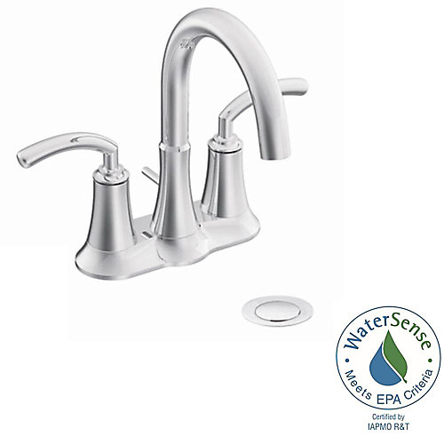 Icon Centerset (4-inch) 2-Handle High Arc Bathroom Faucet in Chrome with Lever Handles