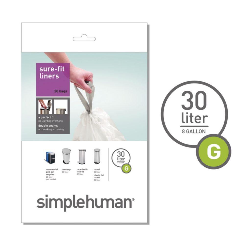 Simplehuman Trash Can Liner G 30L 20 Pack