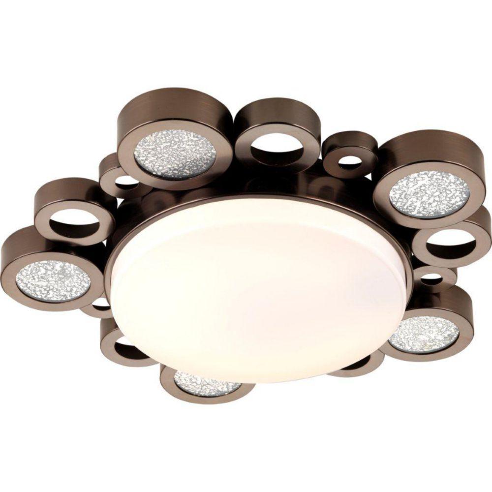 Fluorescente de Plafonnier à 1 Lumière, Collection Bingo - fini Bronze Venitiem