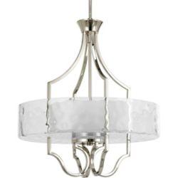 Progress Lighting Lustre de vestibule à 3 Lumières, Collection Caress - fini Nickel Astiqué