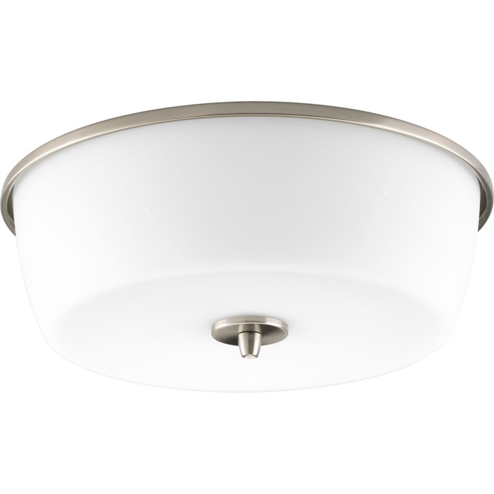 Divot Collection Brushed Nickel 2-light Flushmount