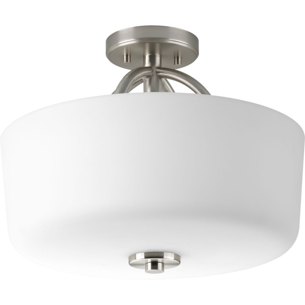 Calven Collection Brushed Nickel 3-light Semi-flushmount