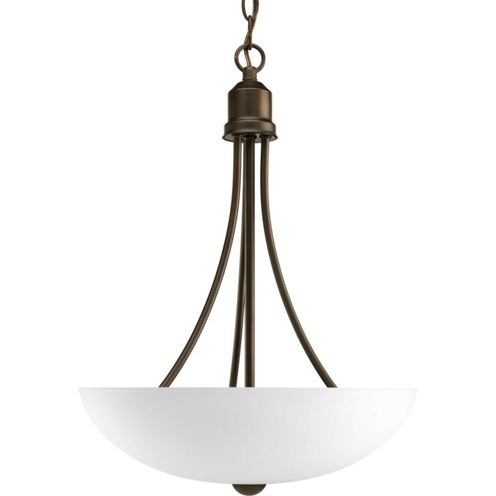 Fluorescente de Lustre de vestibule à 2 Lumières, Collection Gather - fini Bronze à l'Ancienne