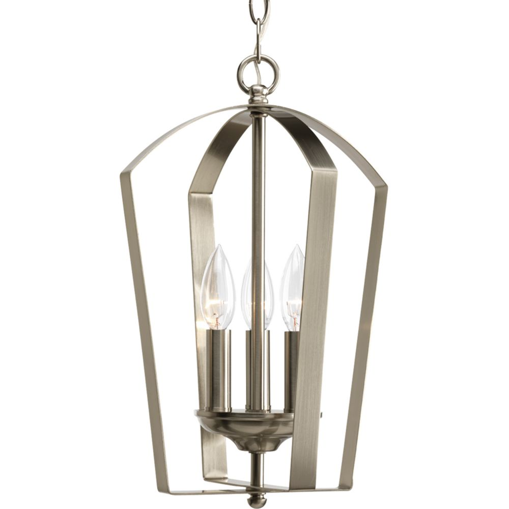 Gather Collection Brushed Nickel 3-light Foyer Pendant