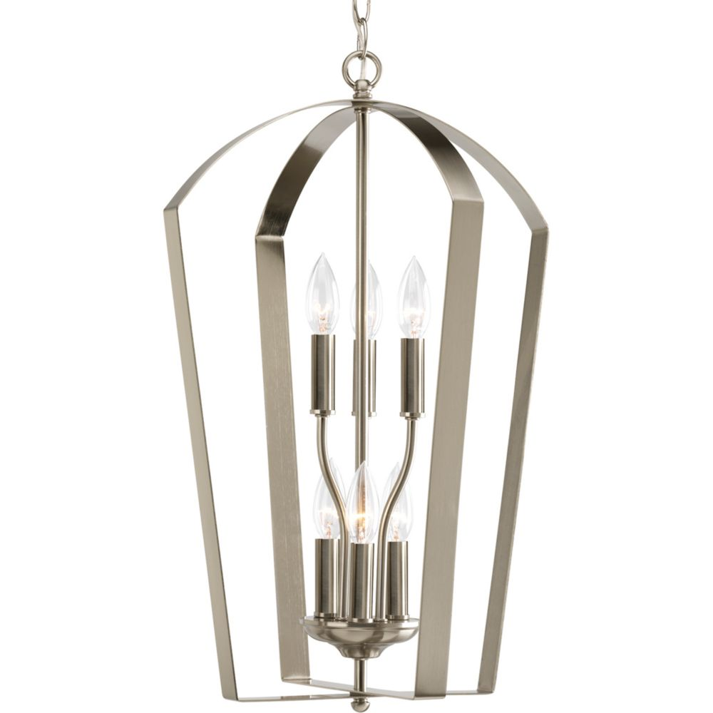 Foyer Chandelier Home Depot : Progress lighting gather collection brushed nickel light