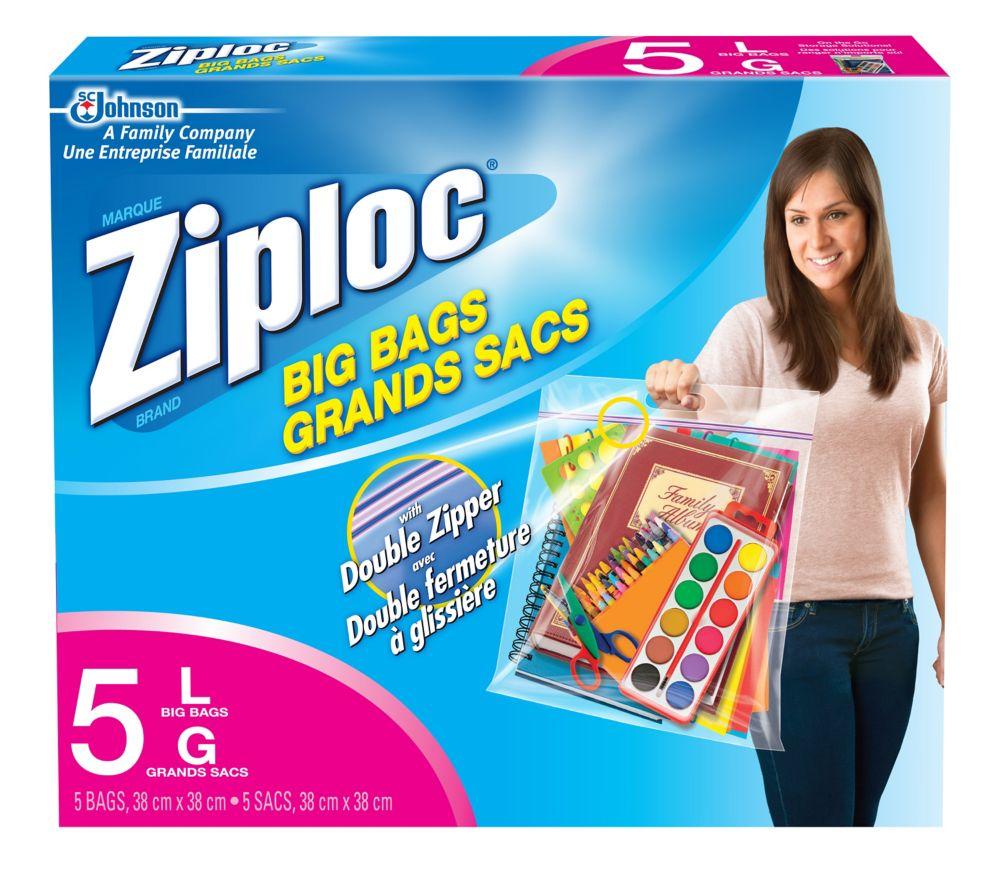 Paq. de 5 grands sacs Ziploc - grand