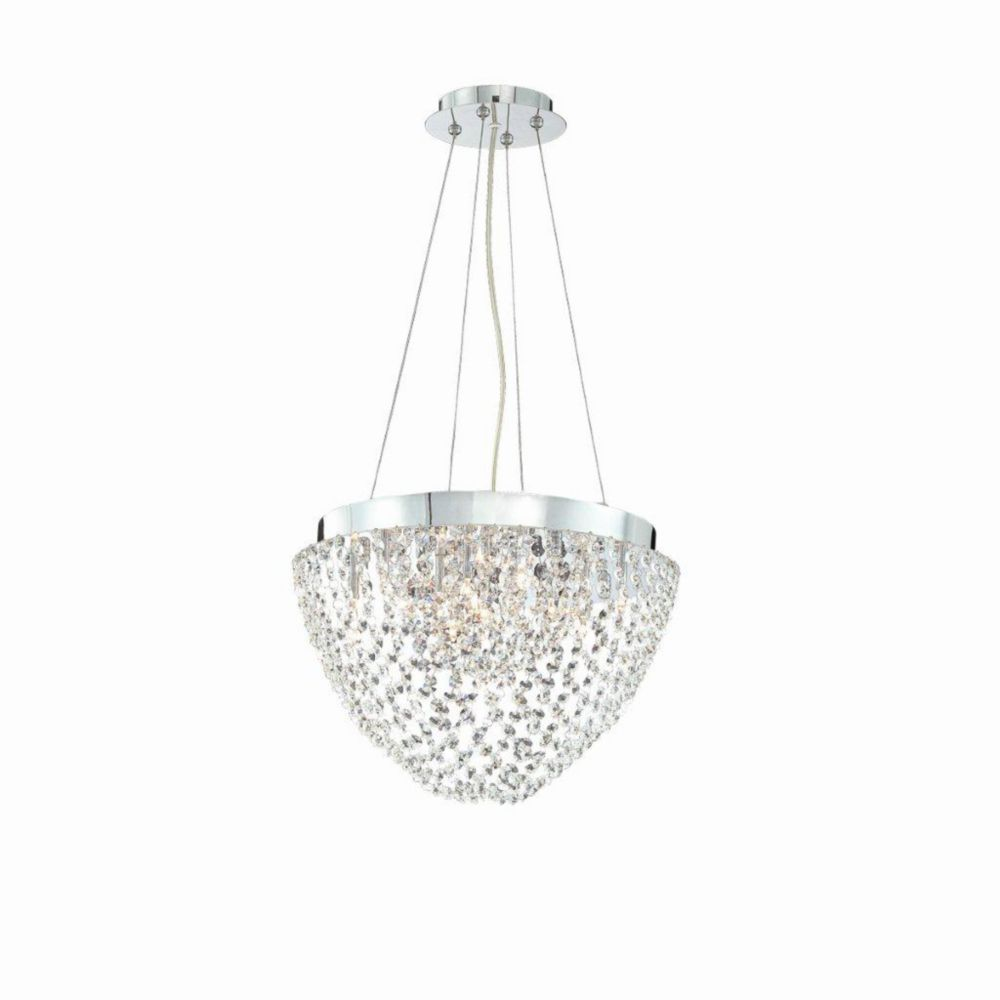 Solana Collection 10 Light Chrome & Crystal Convertible Pendant Flushmount