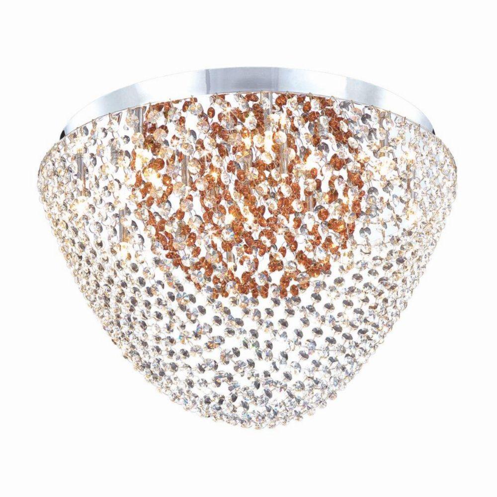 Solana Collection 13 Light Chrome & Amber Convertible Pendant Flushmount