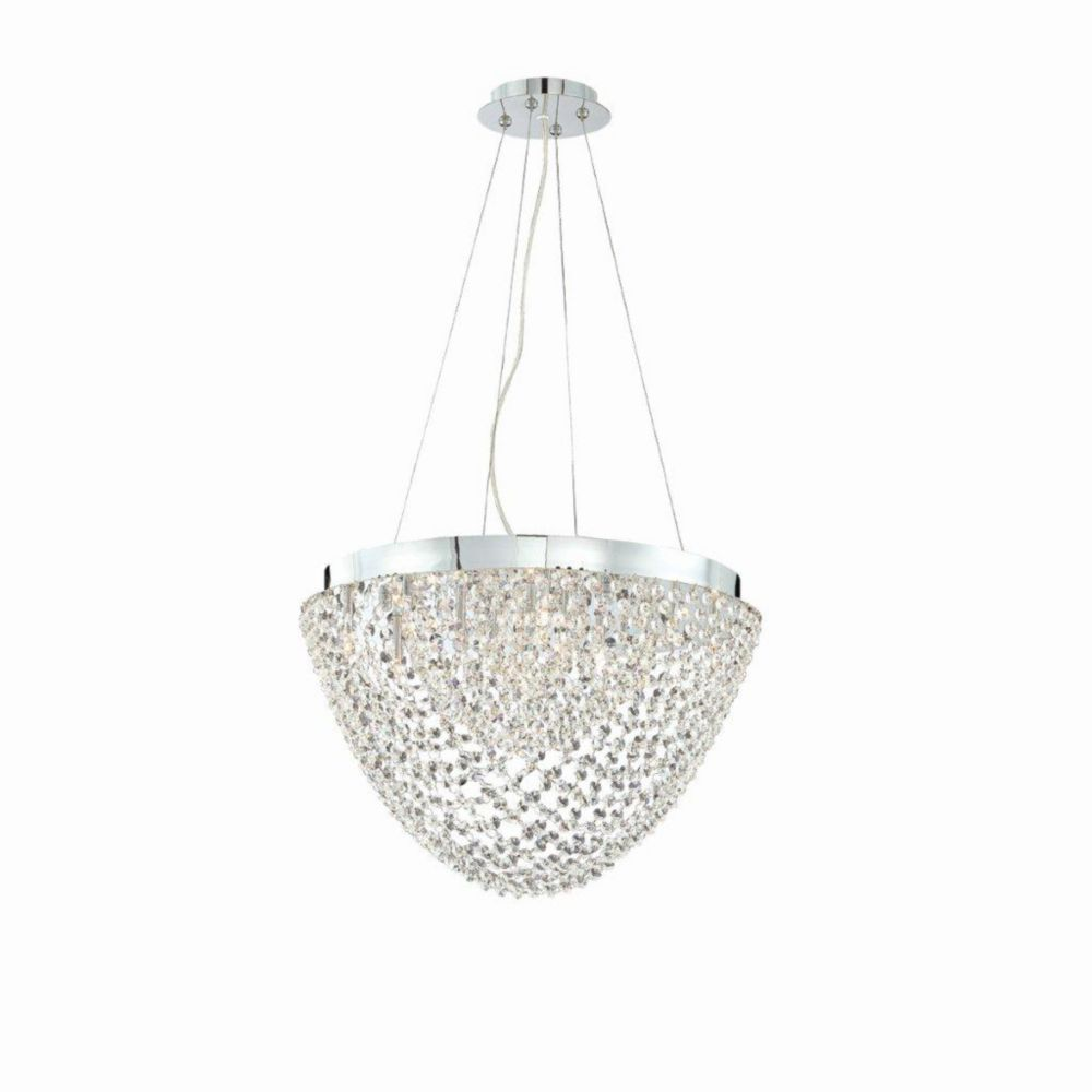Solana Collection 13 Light Chrome & Clear Convertible Pendant Flushmount