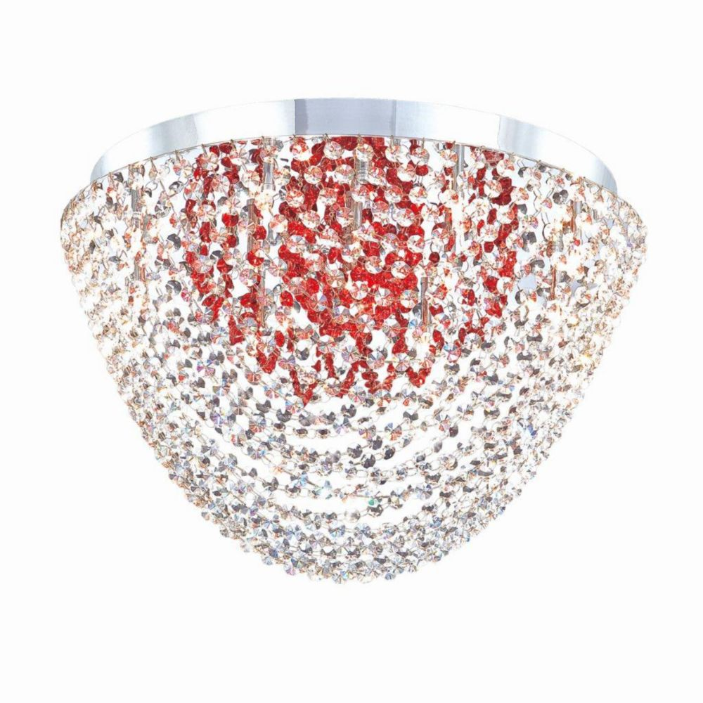 Solana Collection 13 Light Chrome & Red Convertible Pendant Flushmount
