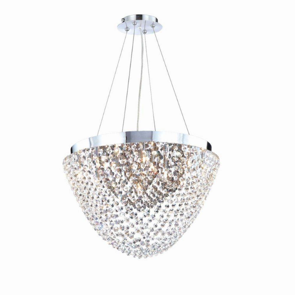 Solana Collection 13 Light Chrome & Smoke Convertible Pendant Flushmount