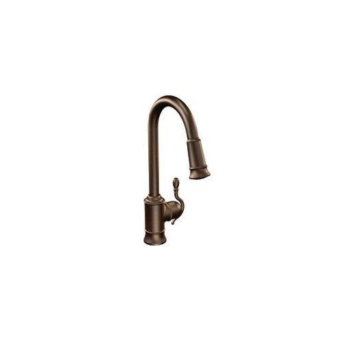 Moen Woodmere Single Handle Pull Down Kitchen Faucet Featuring Reflex In Oil Rubbed Bronze The