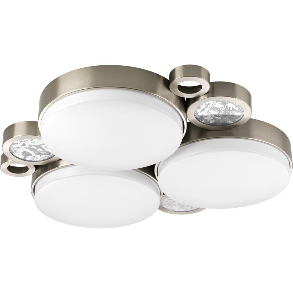 Fluorescente de Plafonnier à 3 Lumières, Collection Bingo - fini Nickel Brossé