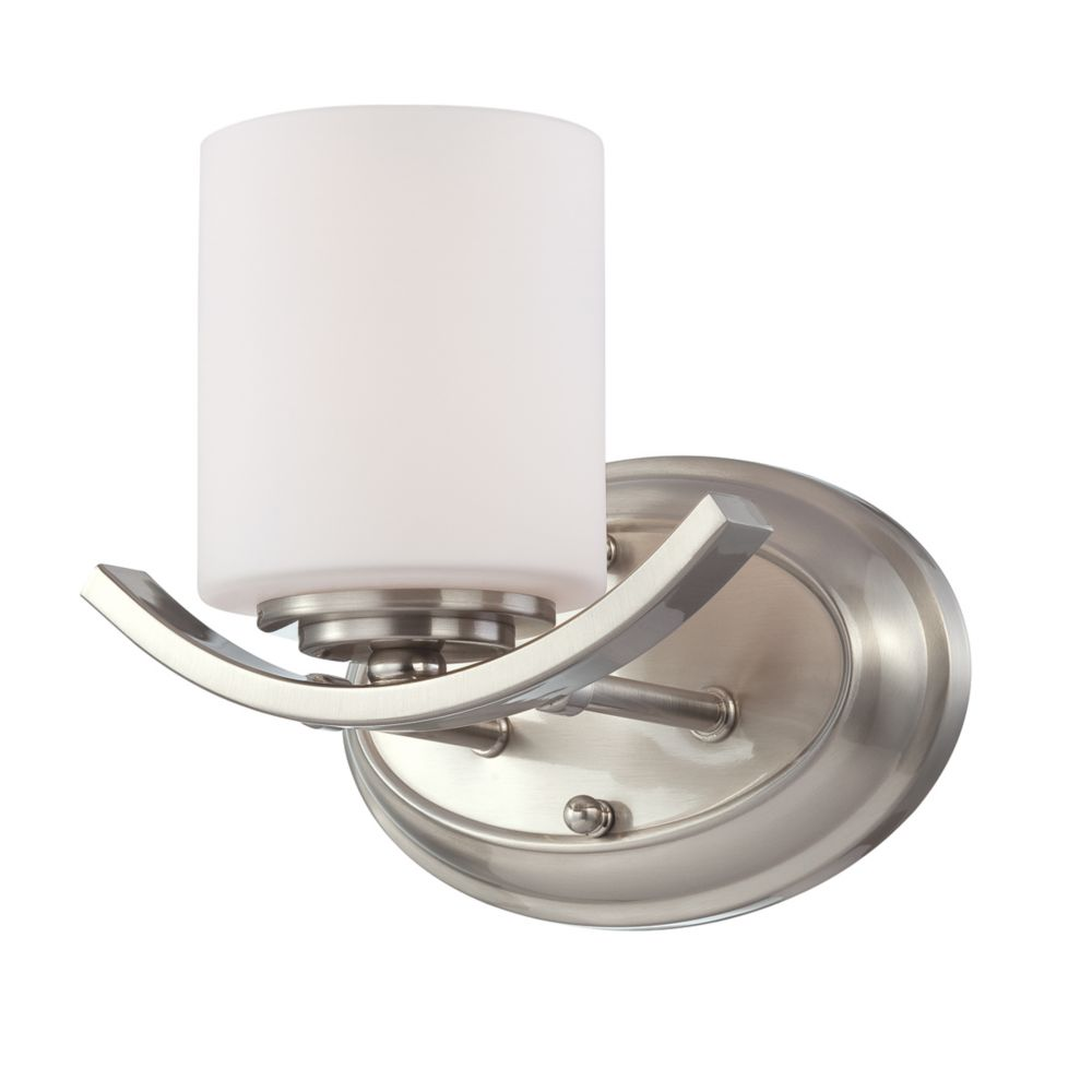 Beam Collection 1 Light Satin Nickel Wall Sconce