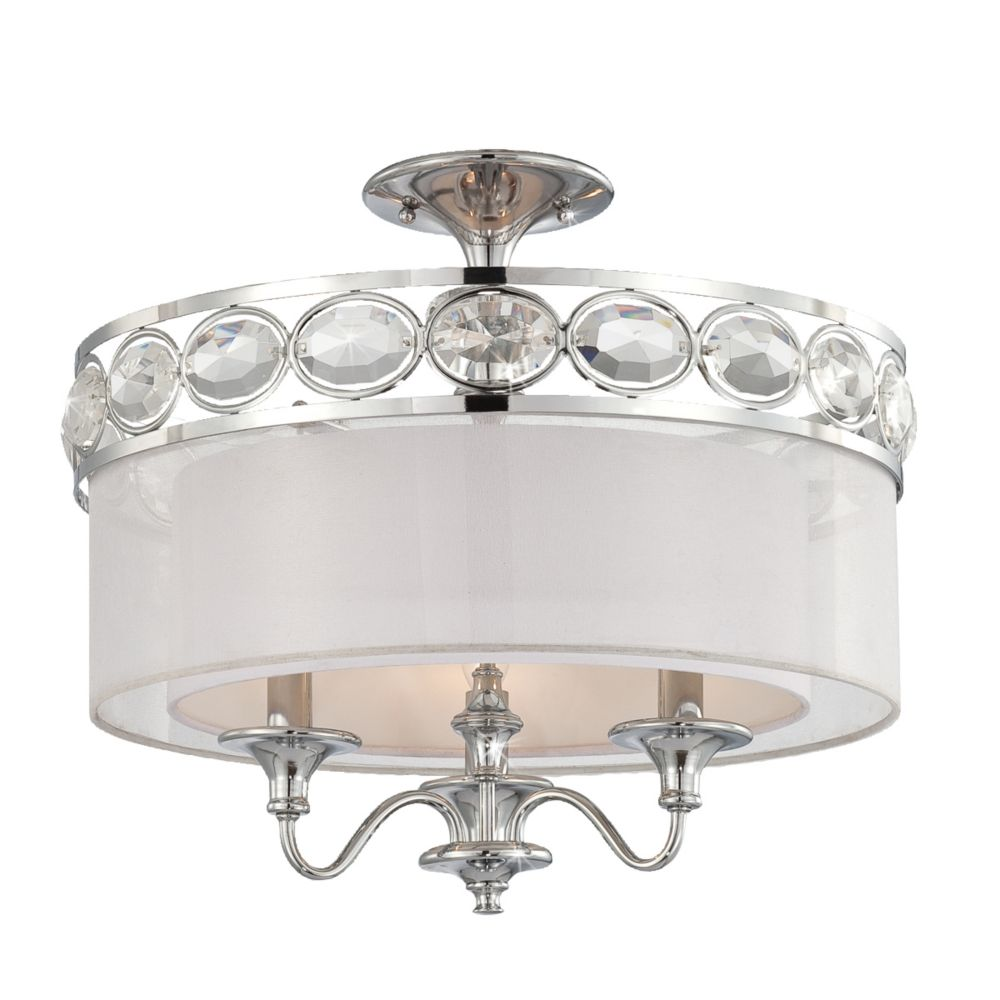 Bijoux Collection 3 Light Chrome Semi Flushmount