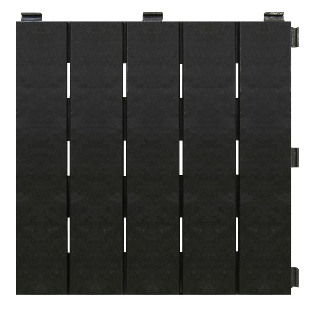 Ecotrend 12 Inch X Black Recycled Rubber Deck Balcony Tile Case Of 6 The Home Depot Canada