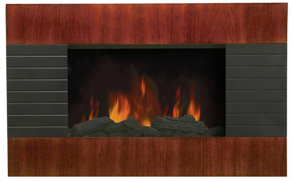 Modern Homes Electric Wall Mounted Fireplace - Mahogany Effect Wood Panel Design, Slim