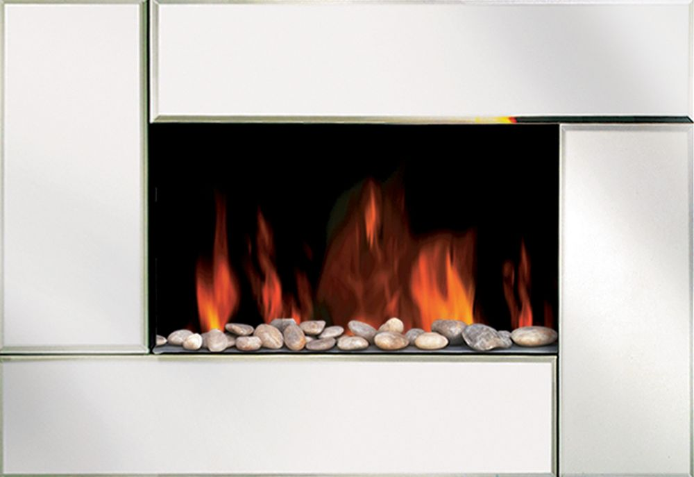 Wall Mounted Electric Fireplace in Beveled Edge Mirror Design