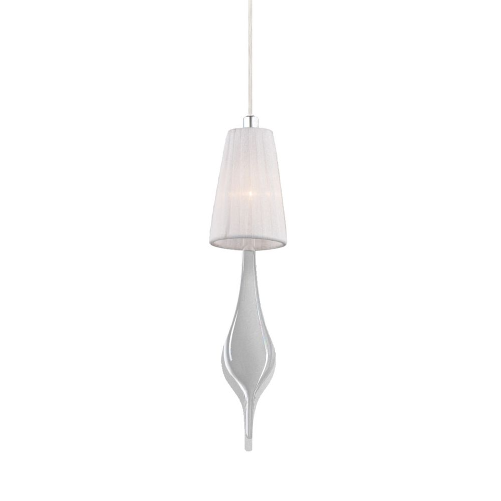 Aqua Collection 1 Light Chrome Pendant with White Shade and Clear Glass