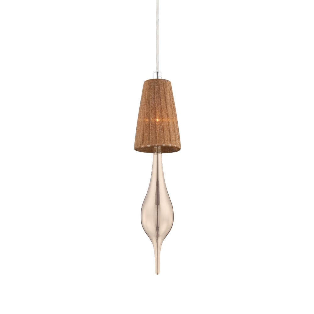 Aqua Collection 1 Light Chrome Pendant with Tea Shade and Champagne Glass