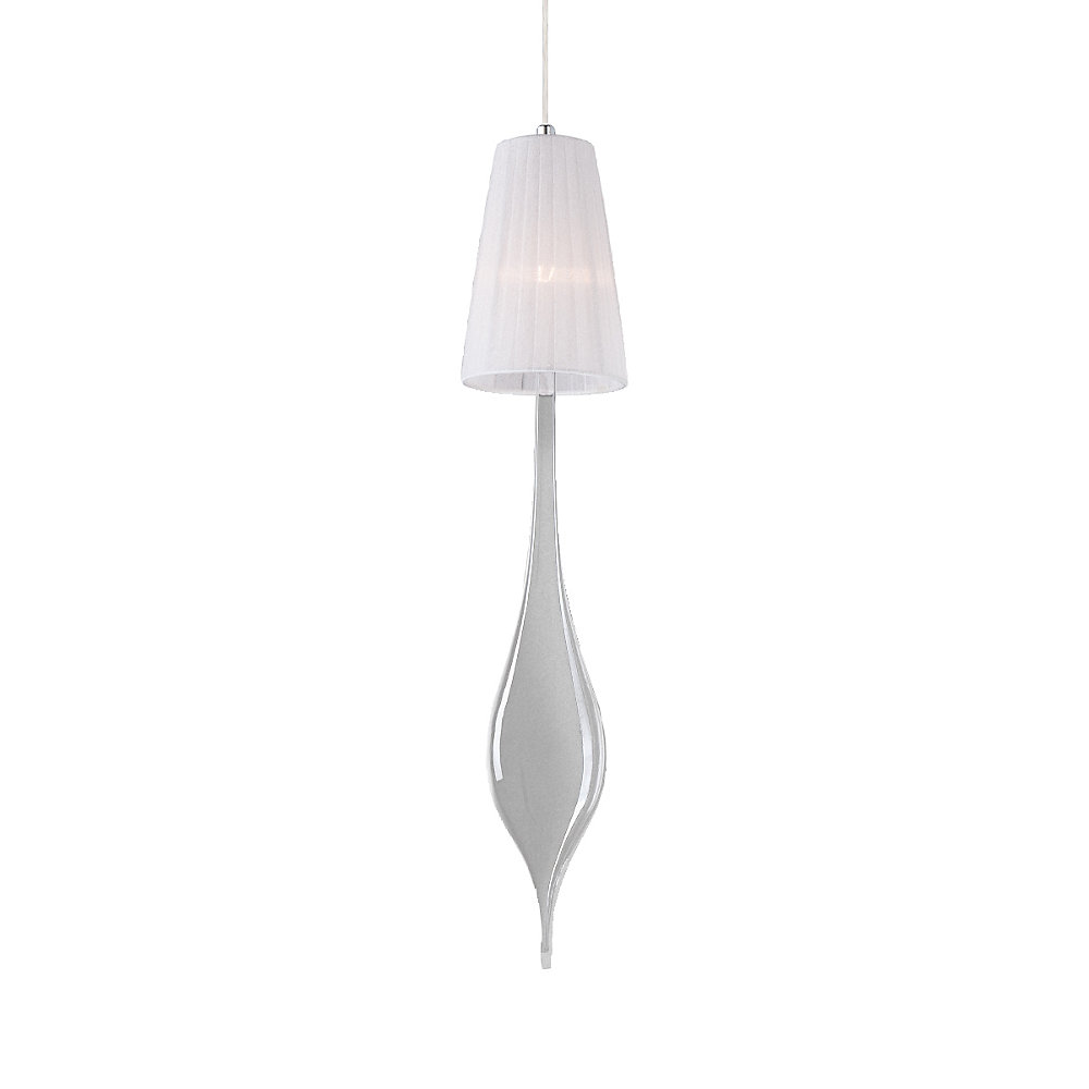 Aqua Collection 1 Light Medium Chrome Pendant with White Shade and Clear Glass