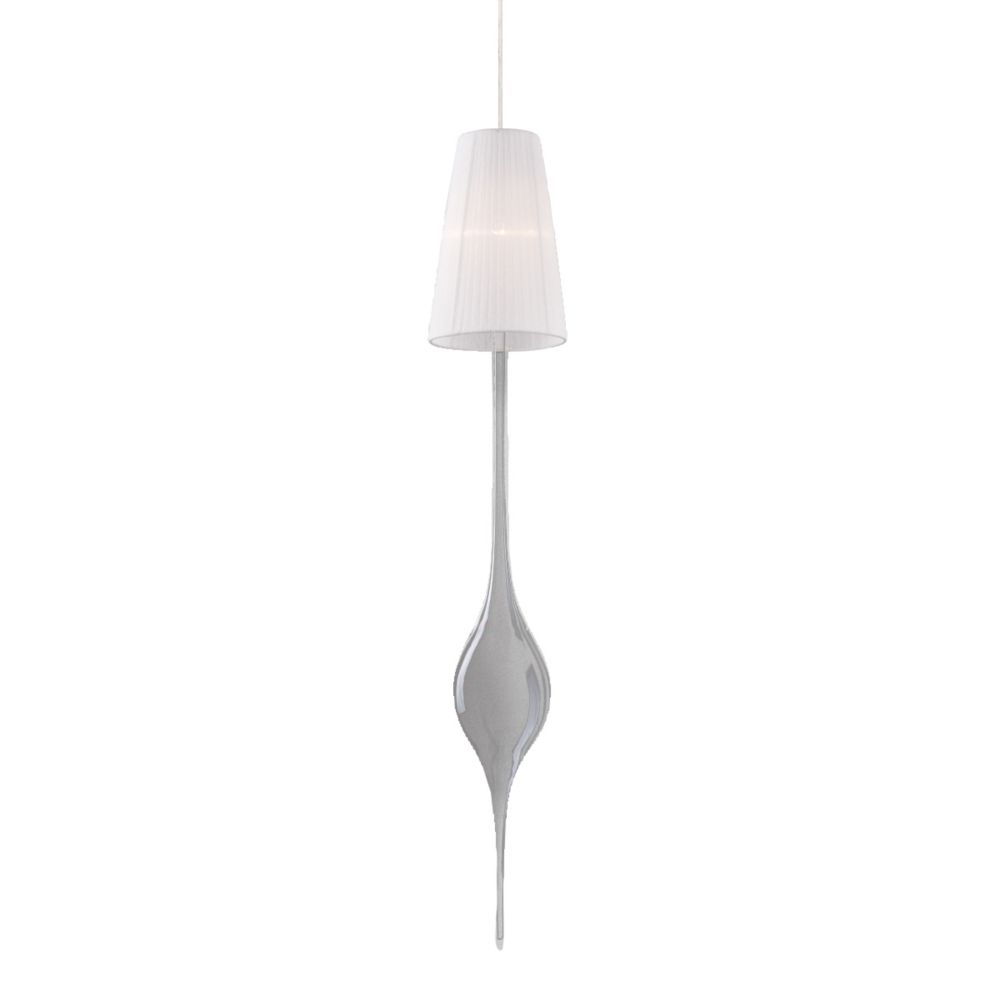 Aqua Collection 1 Light Large Chrome Pendant with White Shade and Clear Glass