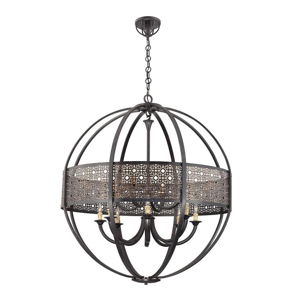 Arsenal Collection 12 Light Ancient Bronze Chandelier