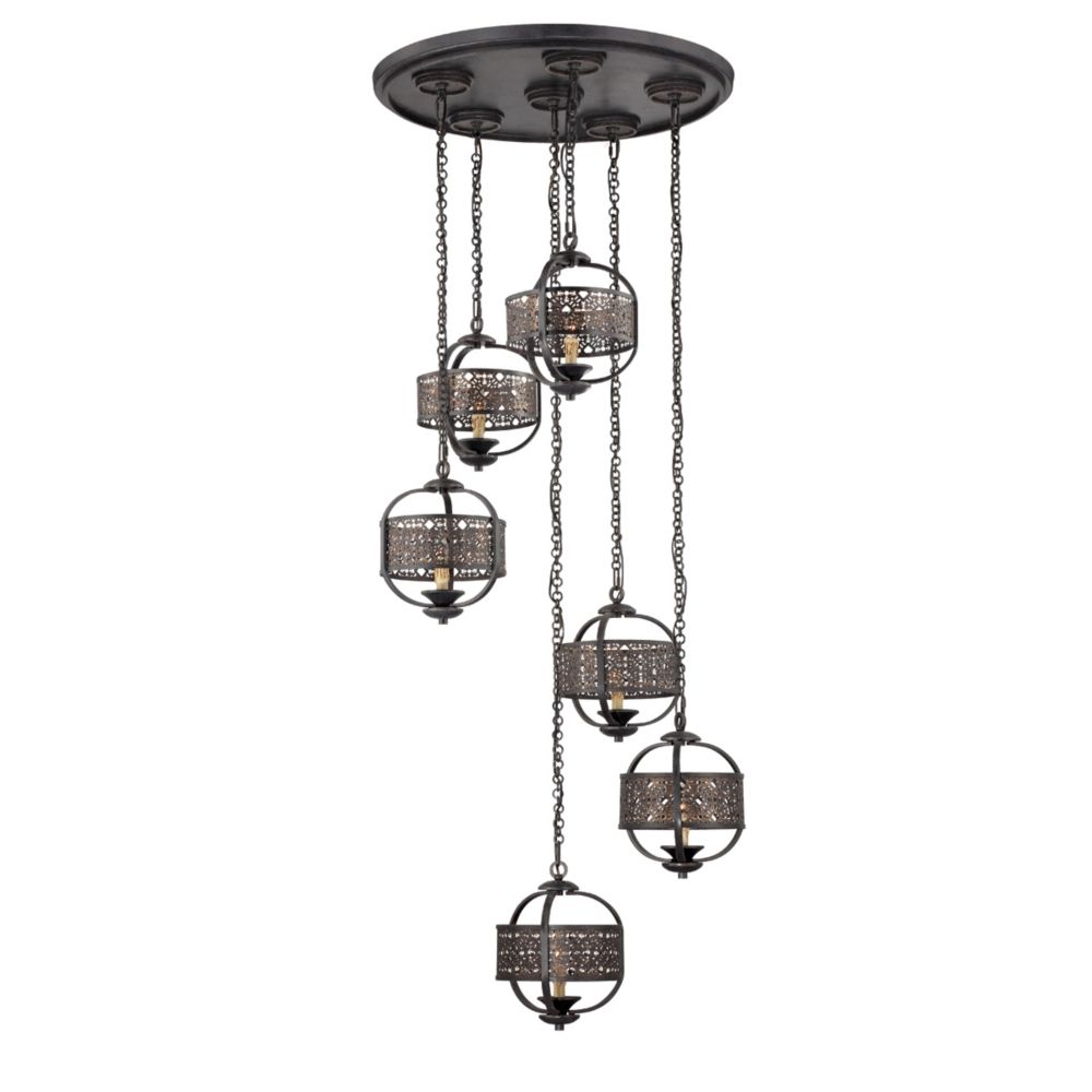 Arsenal Collection 6 Light Ancient Bronze Chandelier