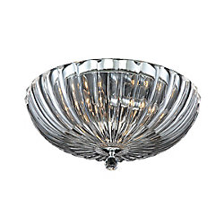 Eurofase Aurora Collection 3 Light Clear Flushmount