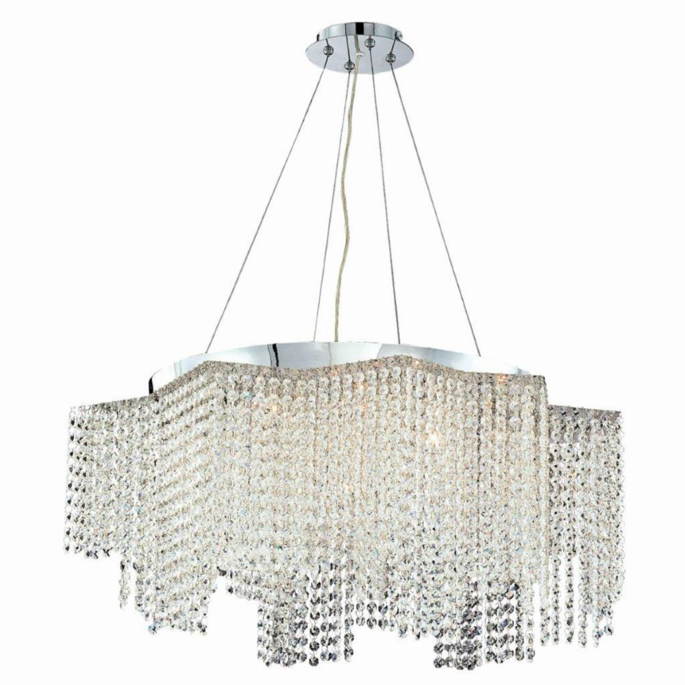 Celestino Collection 17 Light Chrome & Clear Convertible Pendant Flushmount