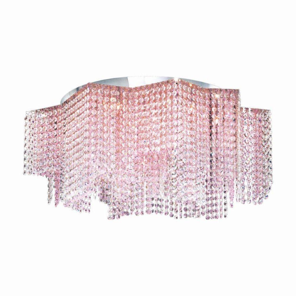 Celestino Collection 17 Light Chrome & Pink Convertible Pendant Flushmount
