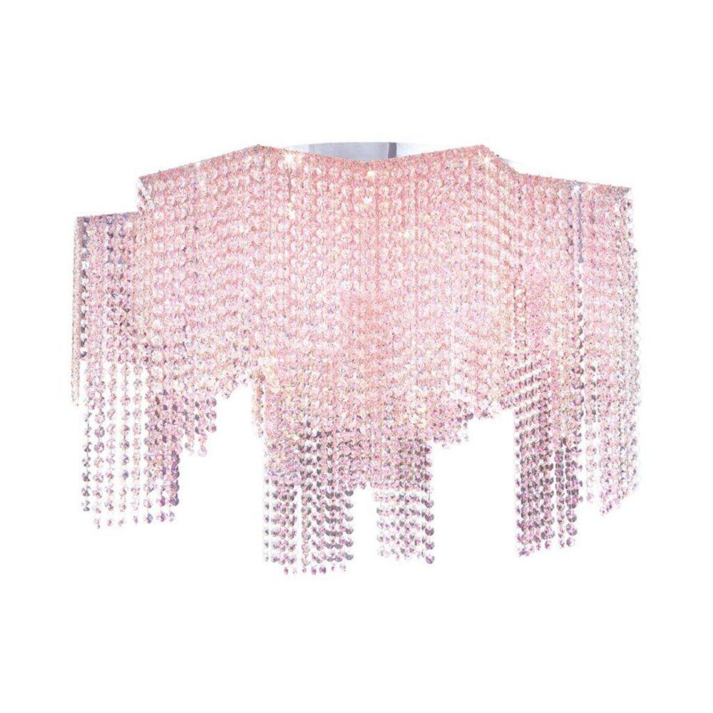 Celestino Collection 22 Light Chrome & Pink Flushmount