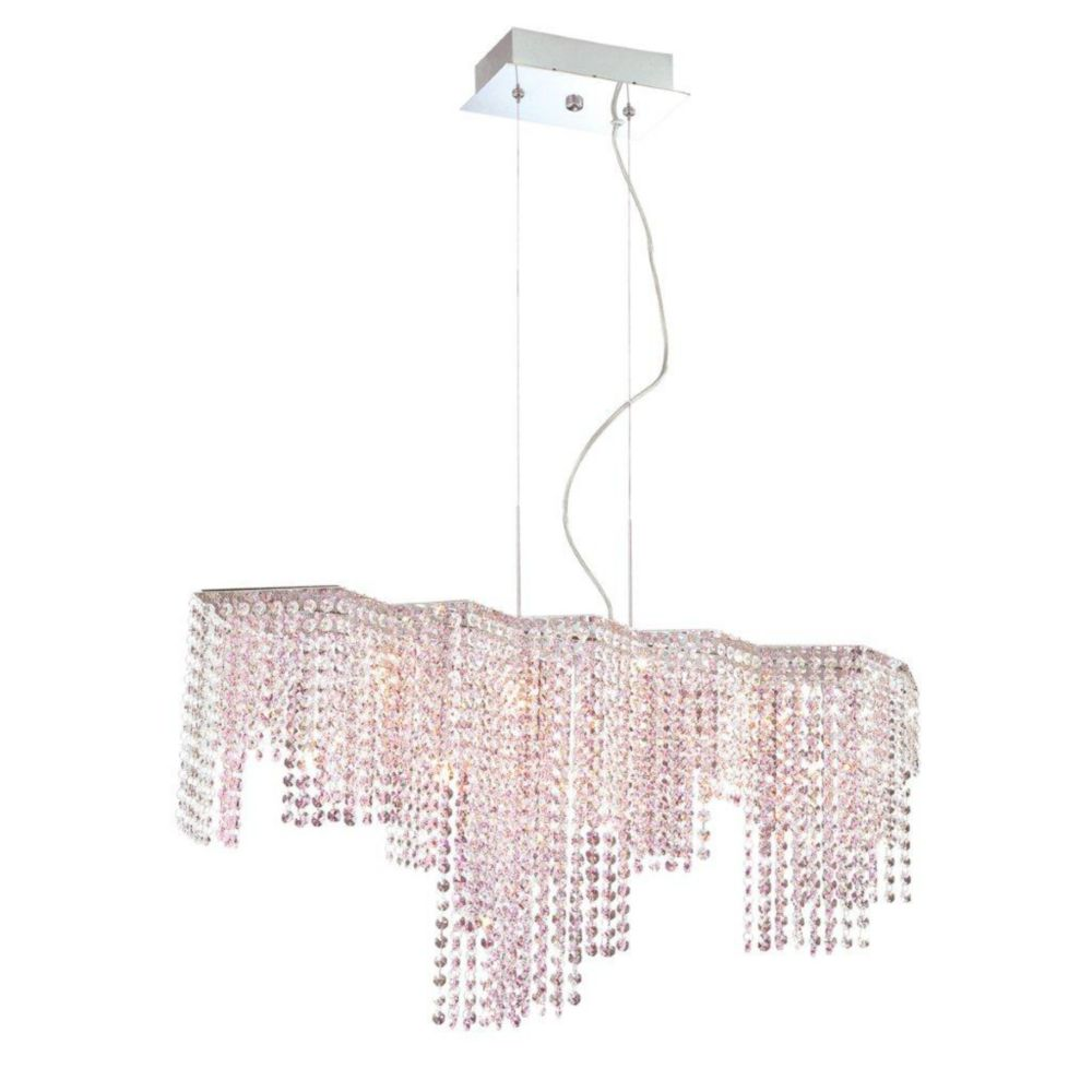 Celestino Collection 9 Light Chrome & Pink Pendant