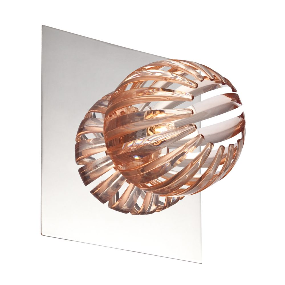 Cosmo Collection 1 Light Chrome & Amber Wall Sconce
