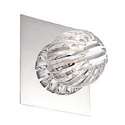 Cosmo Collection 1 Light Chrome & Clear Wall Sconce