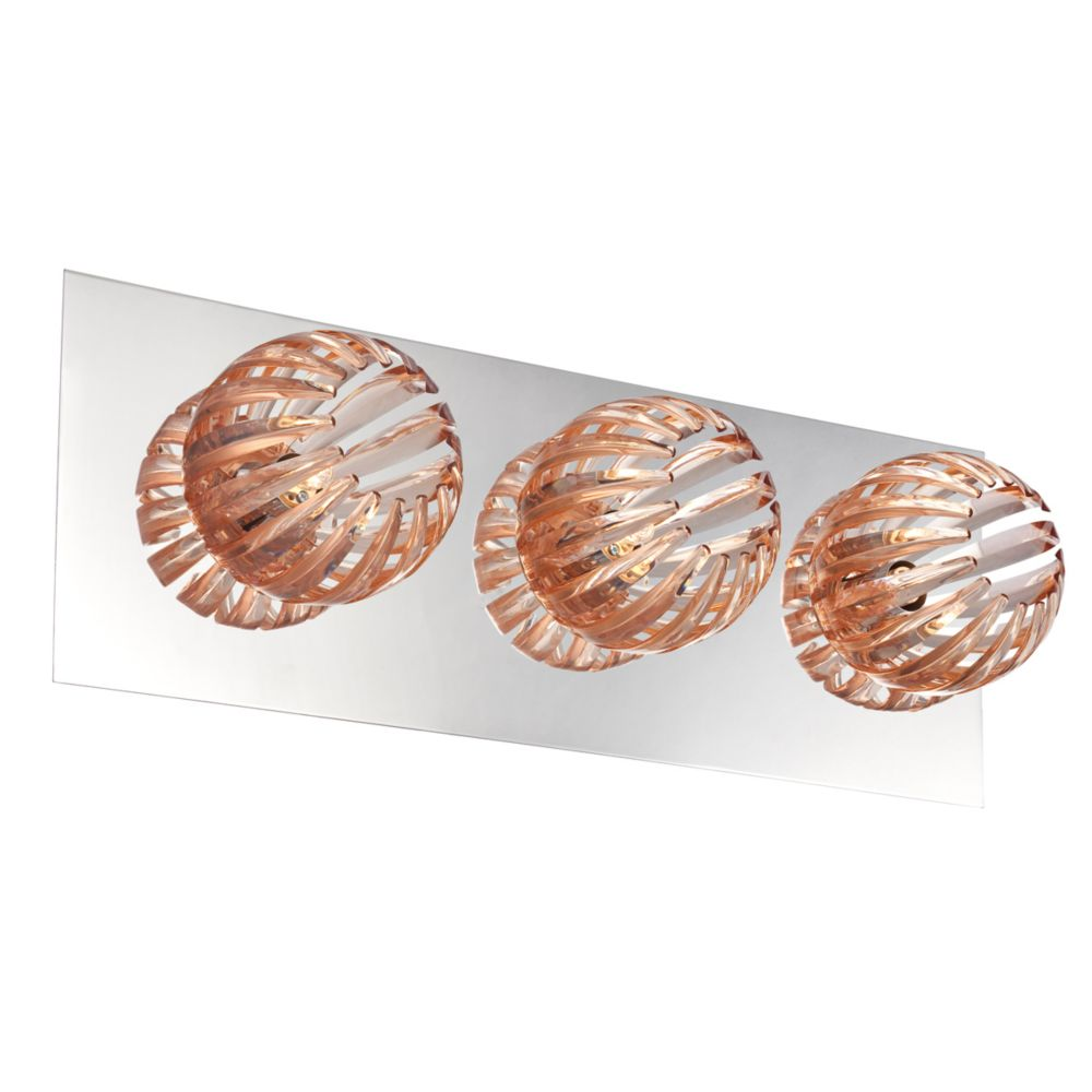 Cosmo Collection 3 Light Chrome & Amber Bathbar