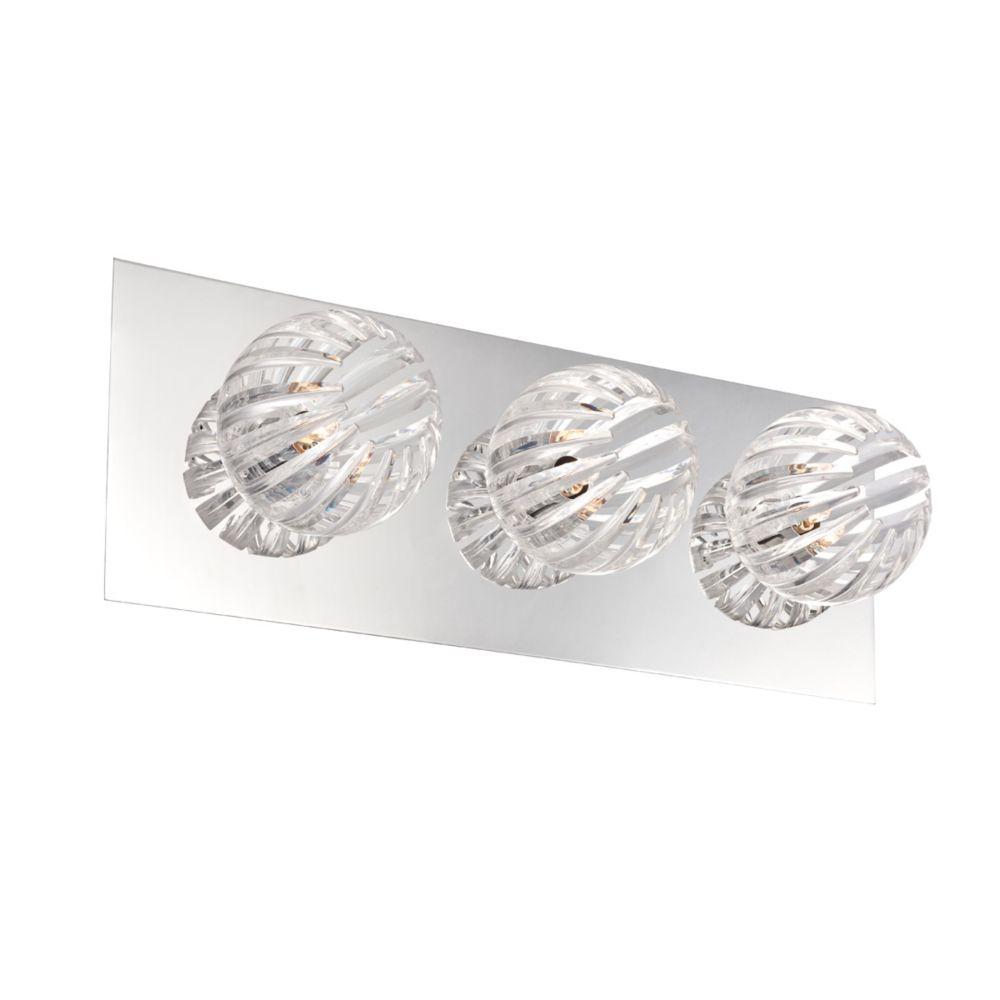 Cosmo Collection 3 Light Chrome & Clear Bathbar