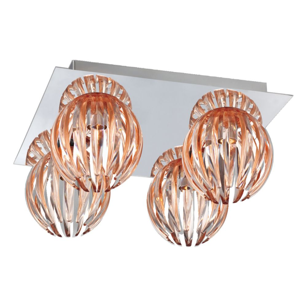 Cosmo Collection 4 Light Chrome & Amber Flushmount