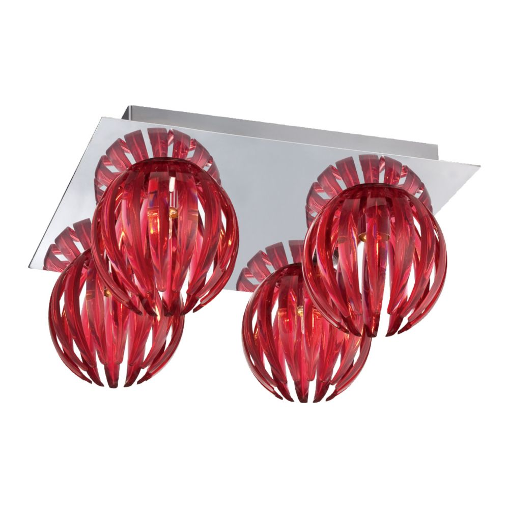 Cosmo Collection 4 Light Chrome & Red Flushmount