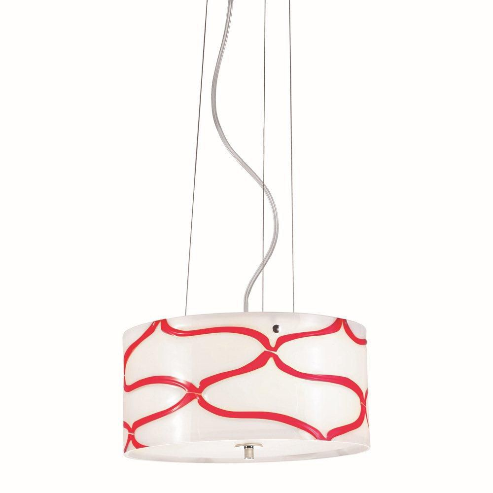 Davine Collection 2 Light Red & Chrome Pendant