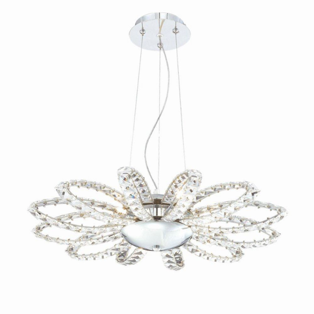 Farella Collection 6 Light Chrome Convertible Pendant Flushmount