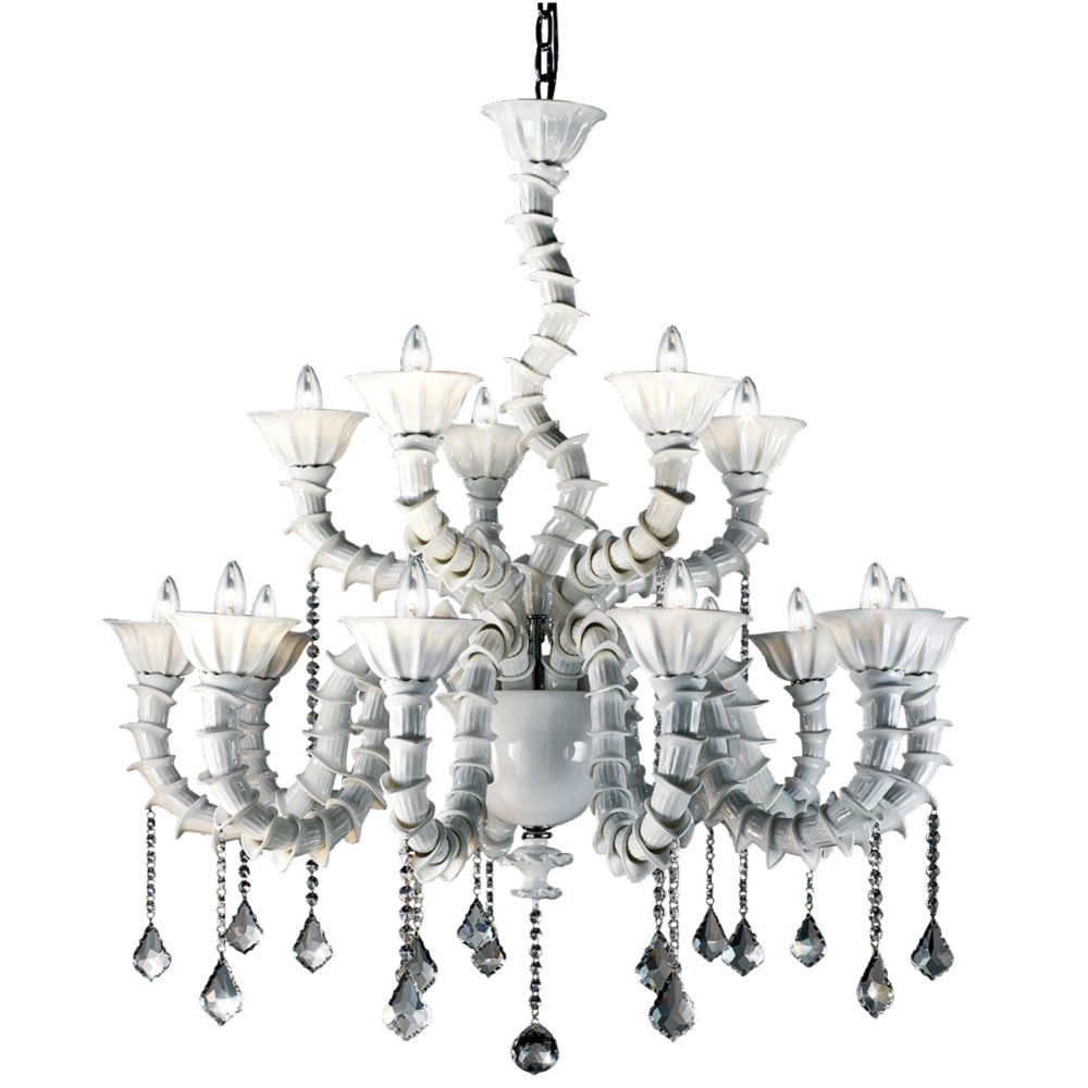 Eurofase Firolia Collection 18 Light White Chandelier