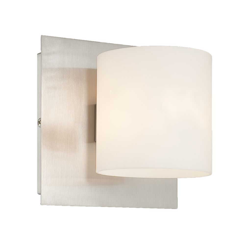 Geos Collection 1 Light Satin Nickel Wall Sconce