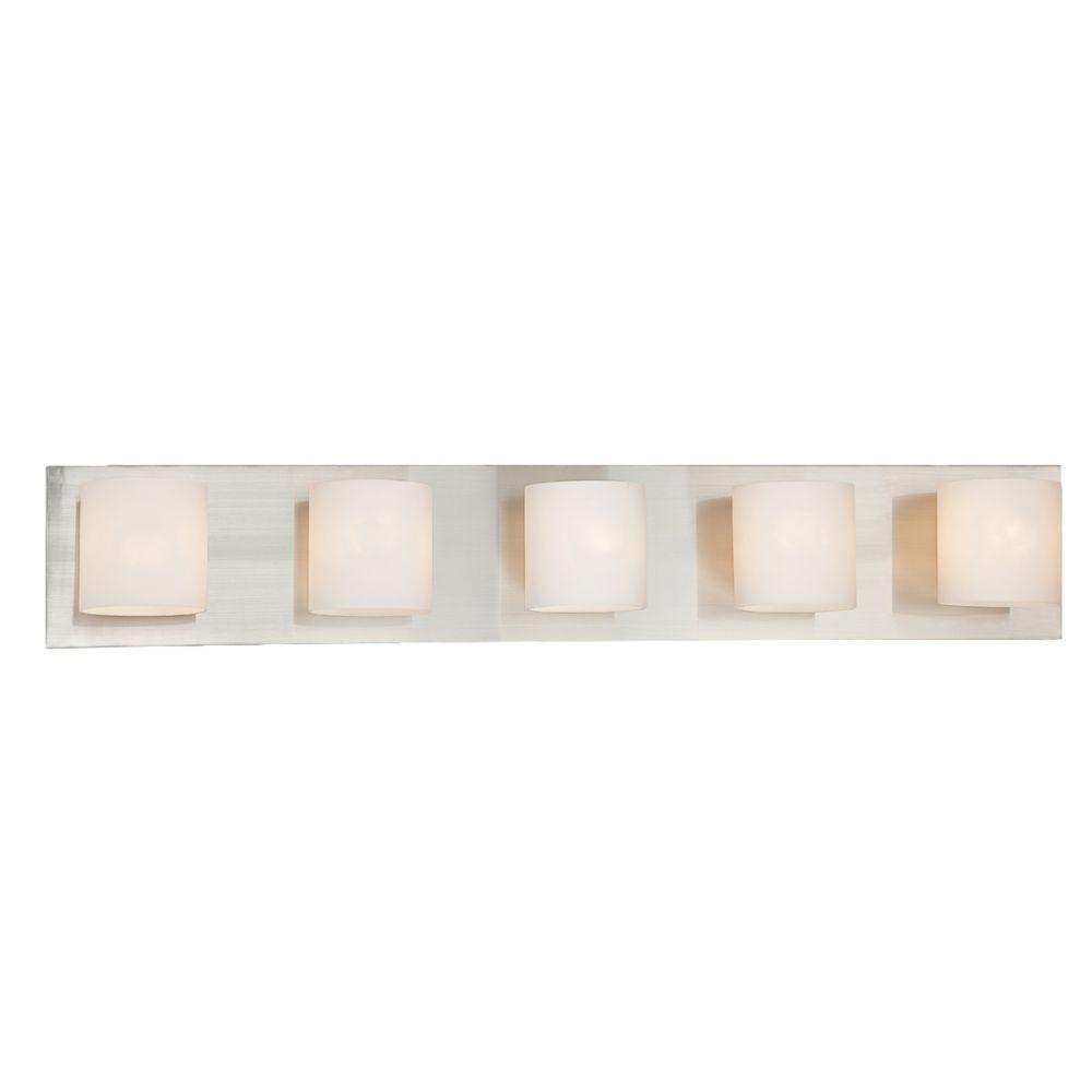 Geos Collection 5 Light Satin Nickel Bathbar